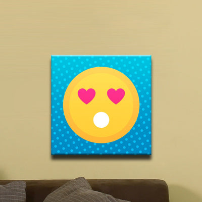 "In Love Face, Flat Shaded Heart Eyed Emoji (12"" x 12"") - Canvas Wrap Print"