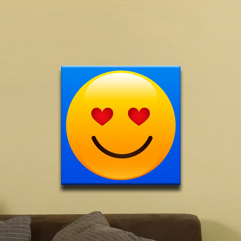 "In Love Face, Shiny Emoji (12"" x 12"") - Canvas Wrap Print"