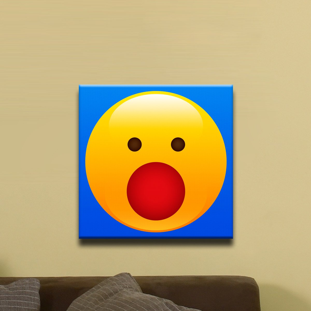 "Surprised Face Shiny Emoji (12"" x 12"") - Canvas Wrap Print"