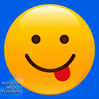 "Tongue Sticking Out Shiny Emoji (12"" x 12"") - Canvas Wrap Print"