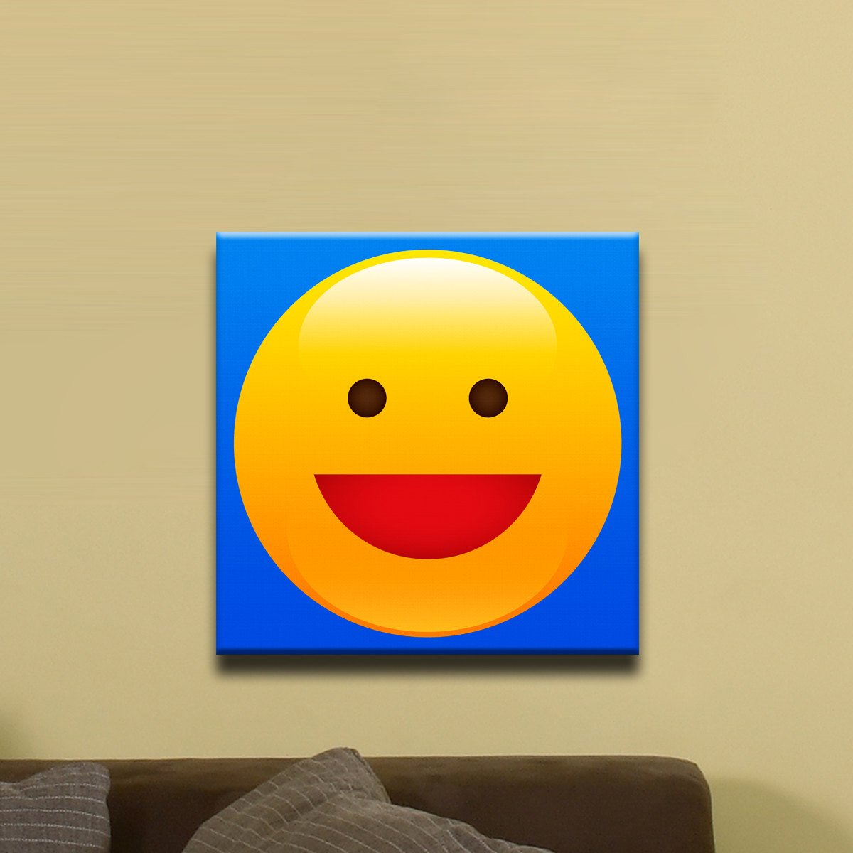 Wide Grin, Smiley Face Emoji (12″ x 12″) – Canvas Wrap Print