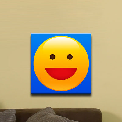 "Wide Grin, Smiley Face Emoji (12"" x 12"") - Canvas Wrap Print"