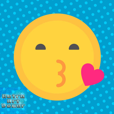 "Smooch, Flat Shaded Kissing Emoji (12"" x 12"") - Canvas Wrap Print"