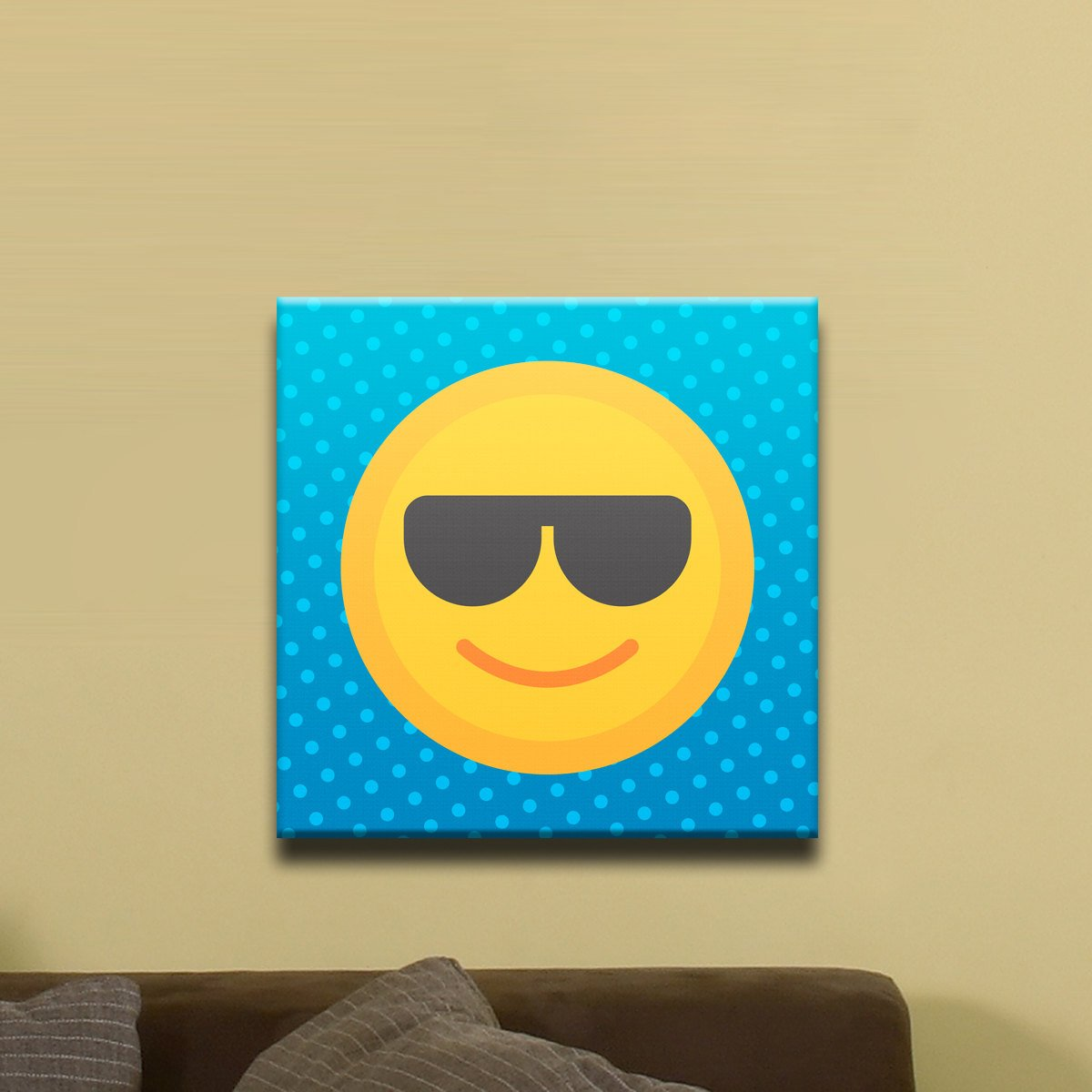 "Sunglasses, Flat Shaded Smiley Face Emoji (12"" x 12"") - Canvas Wrap Print"