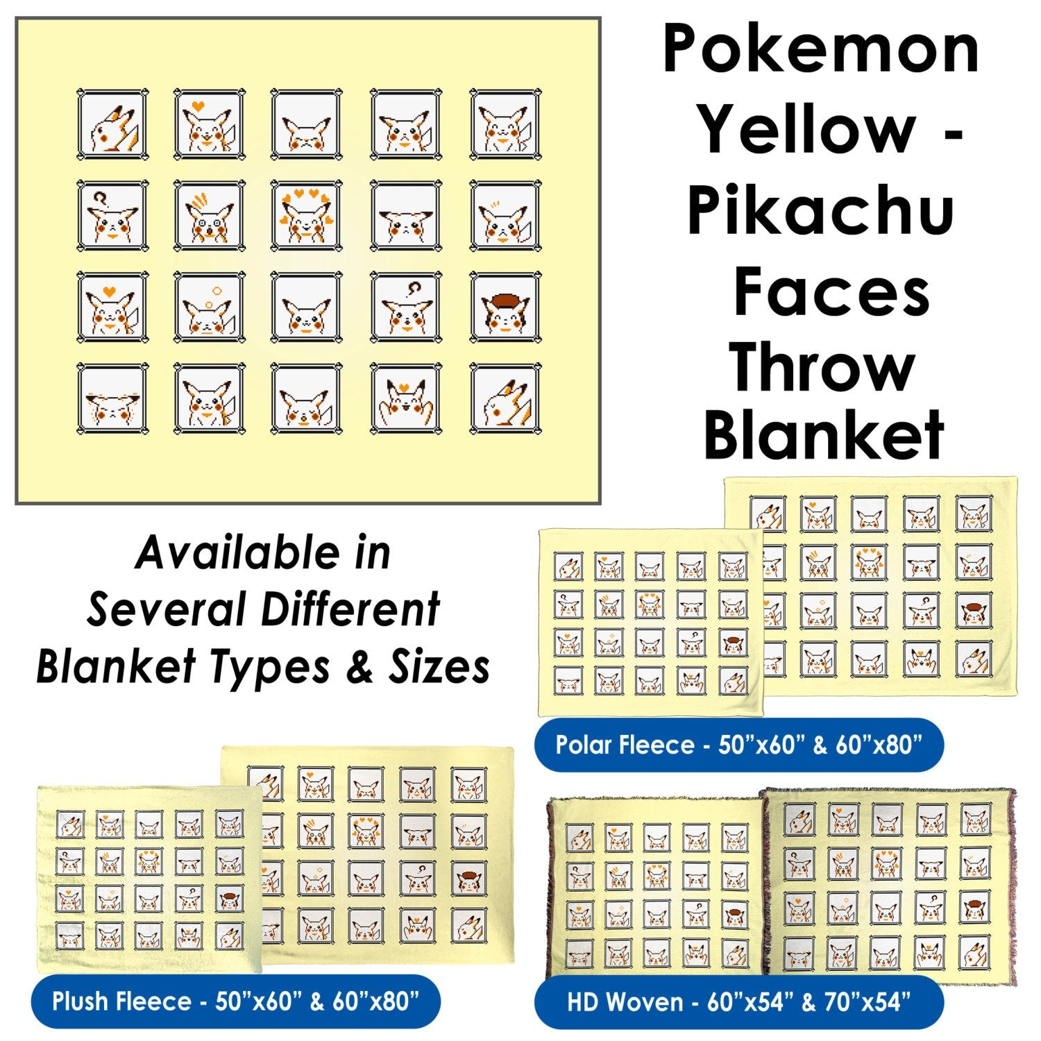 Pokemon Yellow, Pikachu Faces – Throw Blanket / Tapestry Wall Hanging