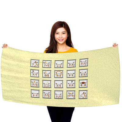 "Pokemon Yellow, Pikachu Faces 30"" x 60"" Microfiber Beach Towel"