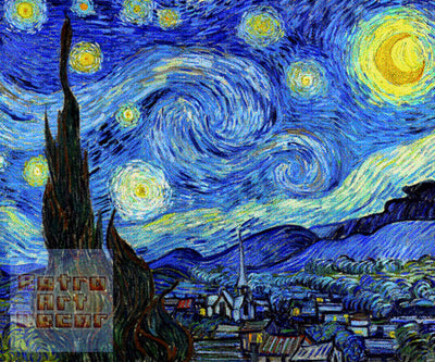 "Starry Night for SNES, Pixel Art (8"" x 10"") - Canvas Wrap Print"