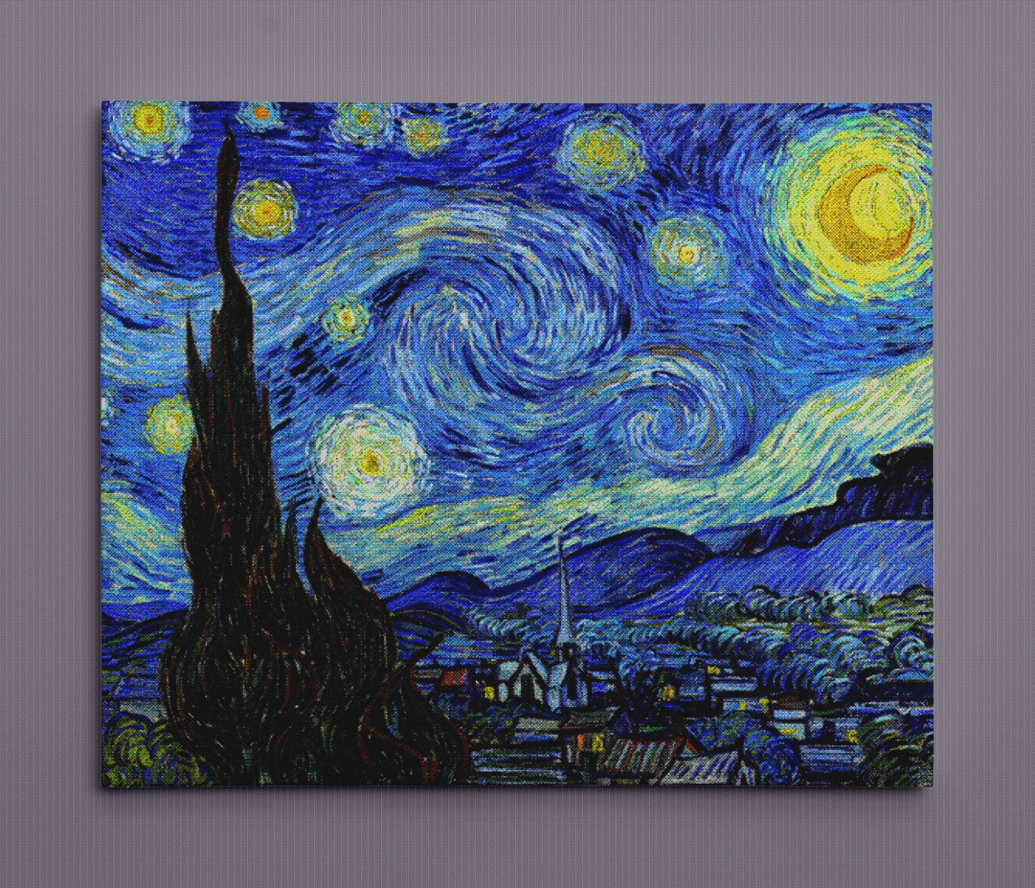 "Starry Night for SNES, Pixel Art (20"" x 24"") - Canvas Wrap Print"