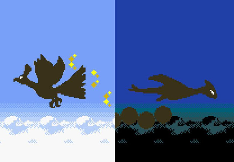 "Pokemon Gold and Silver, Ho-Oh and Lugia Silhouettes (8"" x 12"") - Canvas Wrap Print"