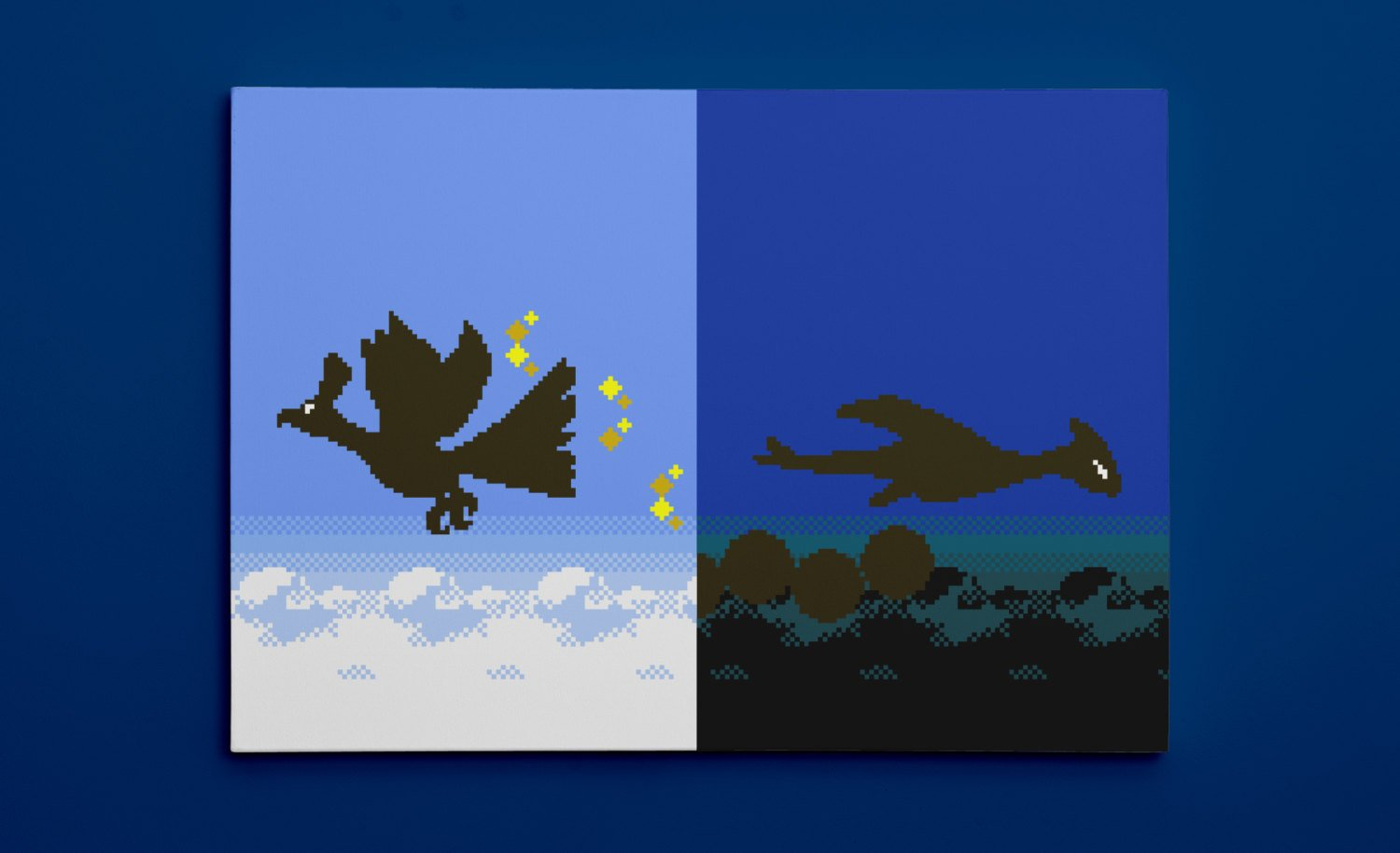 Pokemon Gold and Silver, Ho-Oh and Lugia Silhouettes (16″ x 24″) – Canvas Wrap Print