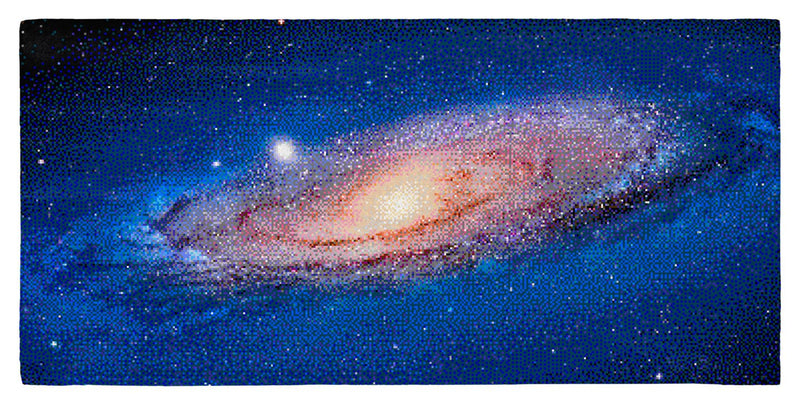 "The Andromeda Galaxy for NES, Pixel Art – 30"" x 60"" Microfiber Beach Towel"
