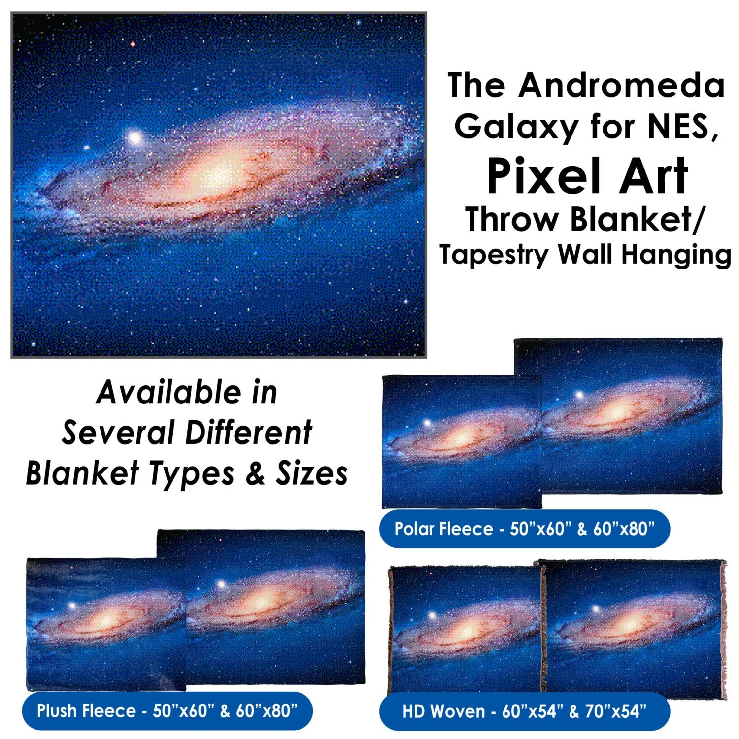 The Andromeda Galaxy for NES, Pixel Art – Throw Blanket / Tapestry Wall Hanging