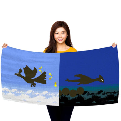 "Pokemon Gold and Silver, Ho-Oh and Lugia Silhouettes 30"" x 60"" Microfiber Beach Towel"