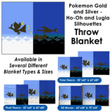 Pokemon Gold and Silver, Ho-Oh and Lugia Silhouettes - Throw Blanket / Tapestry Wall Hanging