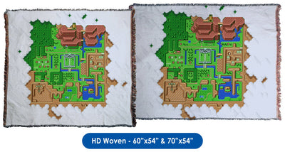 Legend of Zelda: A Link to the Past, Map of Hyrule - Throw Blanket / Tapestry Wall Hanging