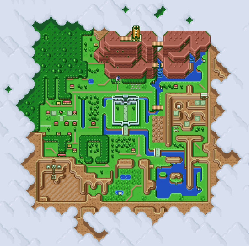 "Legend of Zelda: A Link to the Past, Map of Hyrule (12"" x 12"") - Canvas Wrap Print"