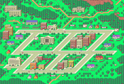 "EarthBound, Onett Map (12"" x 16"") - Canvas Wrap Print"