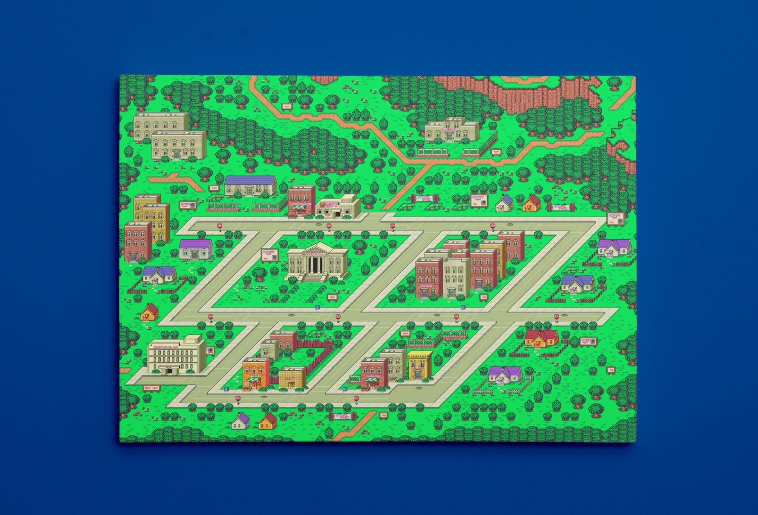 "EarthBound, Onett Map (24"" x 36"") - Canvas Wrap Print"