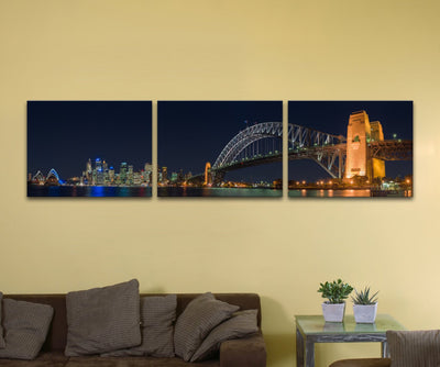 "Sydney Harbour Bridge, Bundle of Three (12"" x 16"") - Canvas Wrap Print"