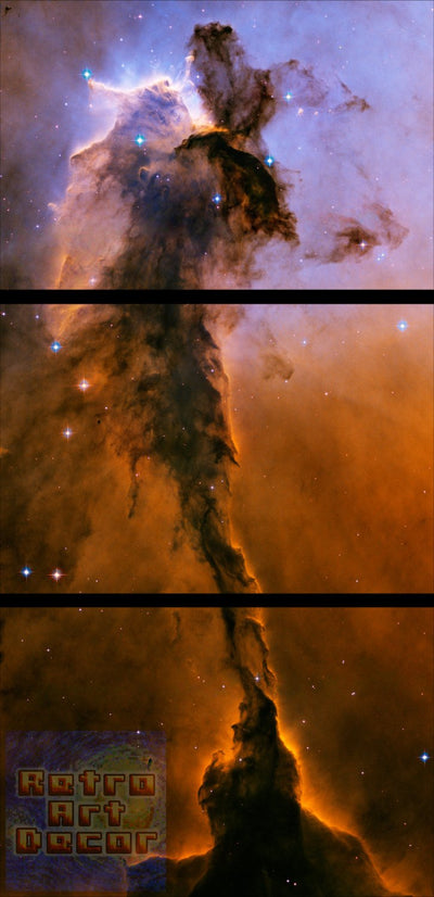 "Stellar Spire in the Eagle Nebula - 24"" x 48"", 3-Piece Vertical Split Canvas Wall Mural"