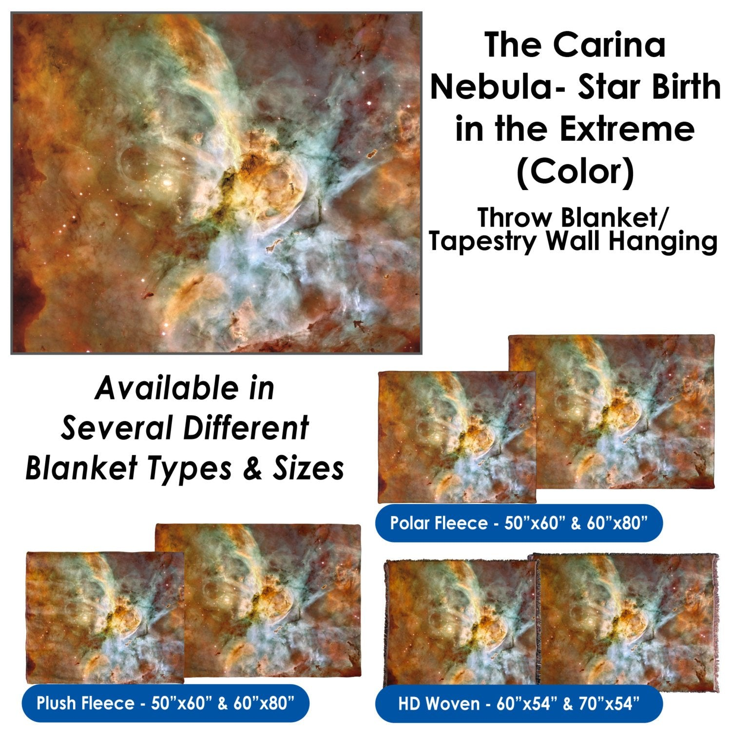 The Carina Nebula, Star Birth in the Extreme (Color) – Throw Blanket / Tapestry Wall Hanging