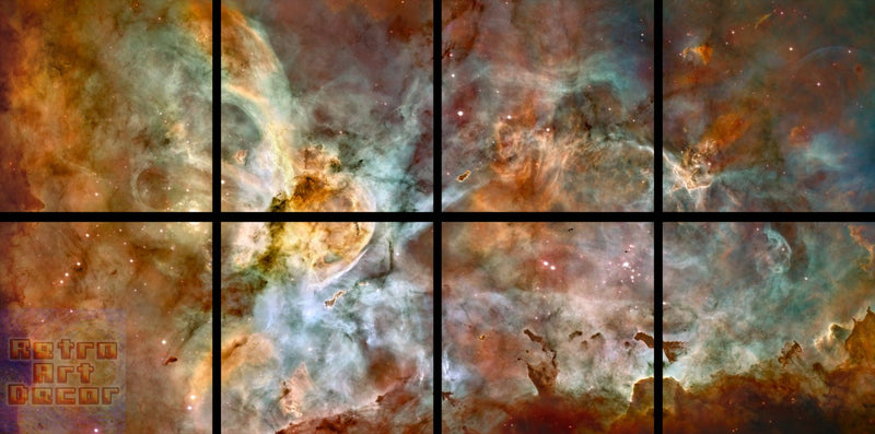 "The Carina Nebula, Star Birth in the Extreme (Color) - 80"" x 40"", GIANT 8-Piece Canvas Wall Mural"