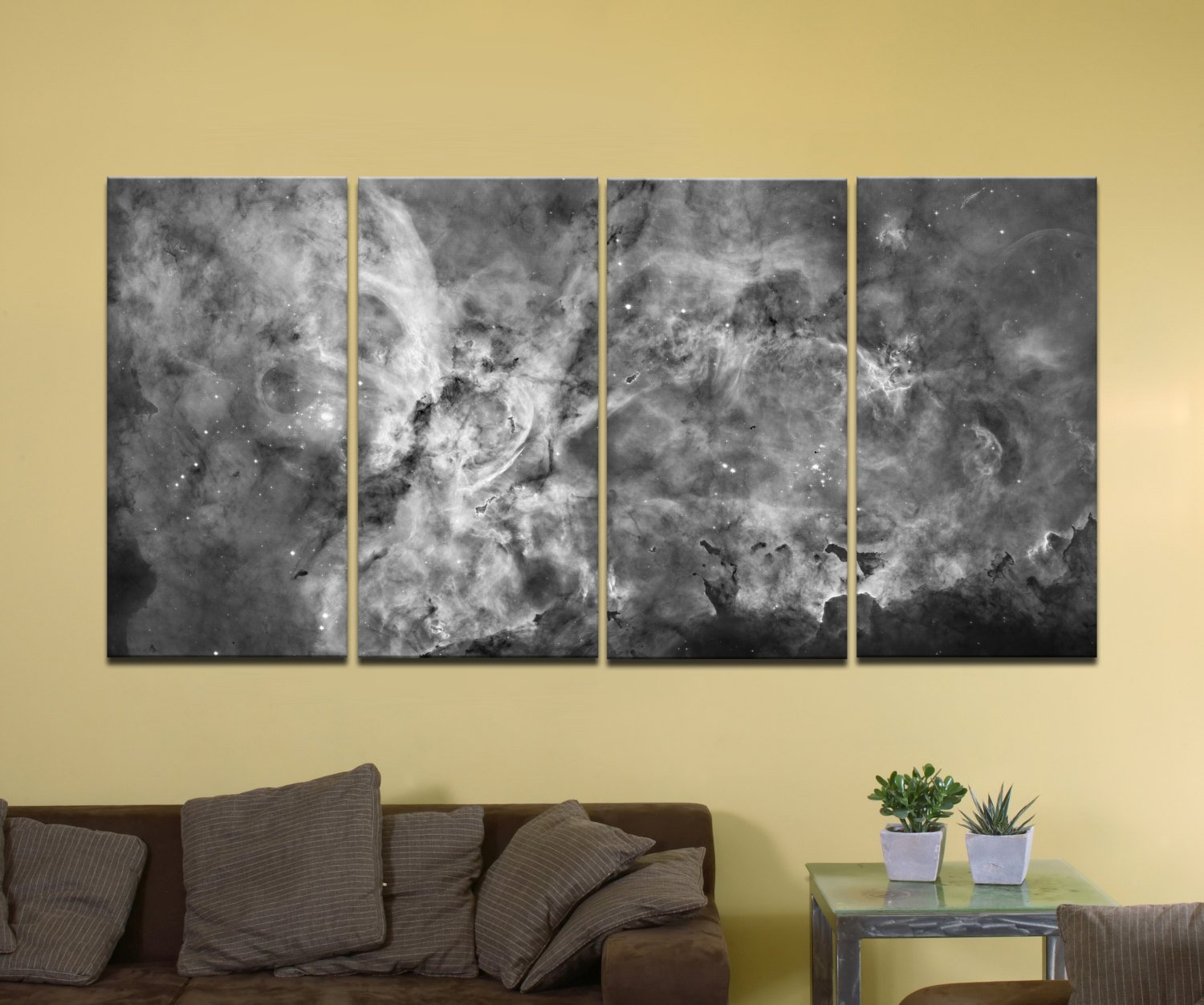 "The Carina Nebula, Star Birth in the Extreme (Grayscale) - 72"" x 36"", 4-Piece Split Canvas Wall Mural"