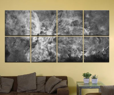 "The Carina Nebula, Star Birth in the Extreme (Grayscale) - 80"" x 40"", GIANT 8-Piece Canvas Wall Mural"