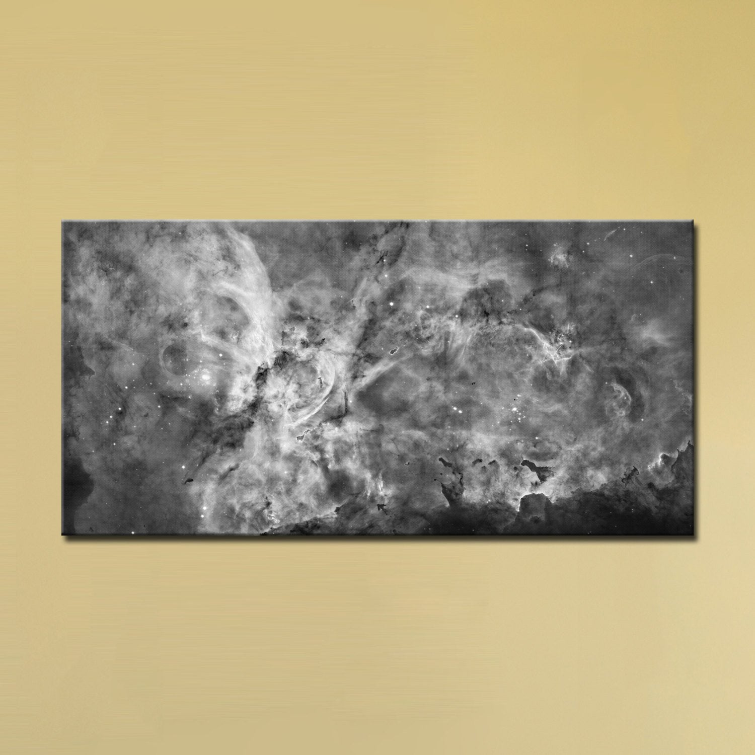 The Carina Nebula, Star Birth in the Extreme (Grayscale) (12″ x 24″) – Canvas Wrap Print