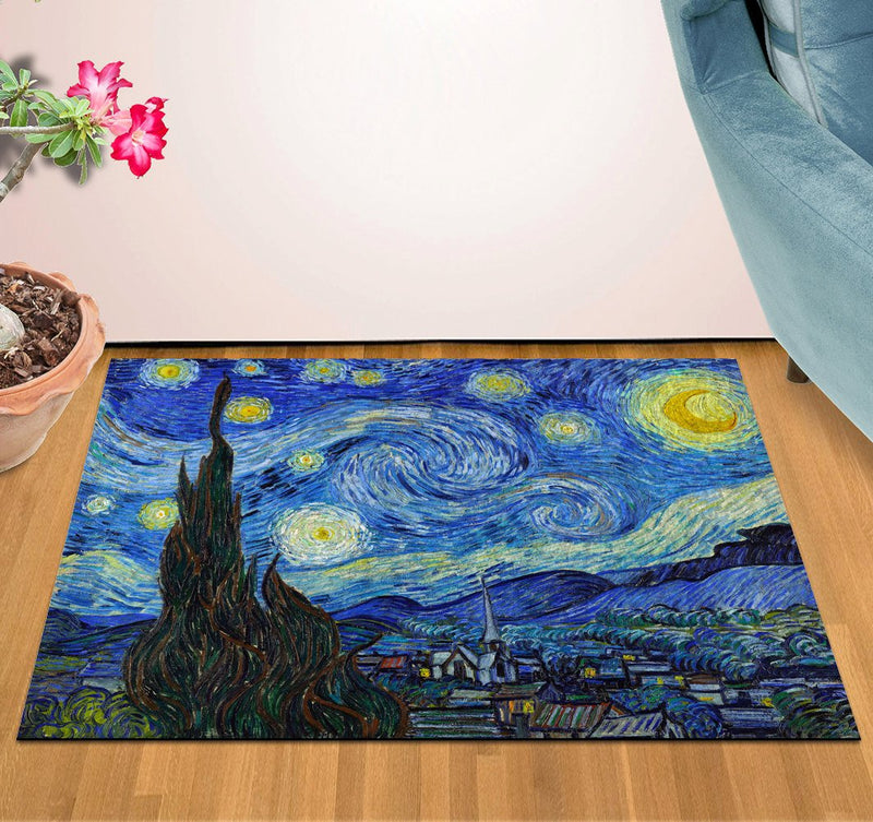 2' x 3' Area Rug Door Mat Van Gogh Starry Night HD