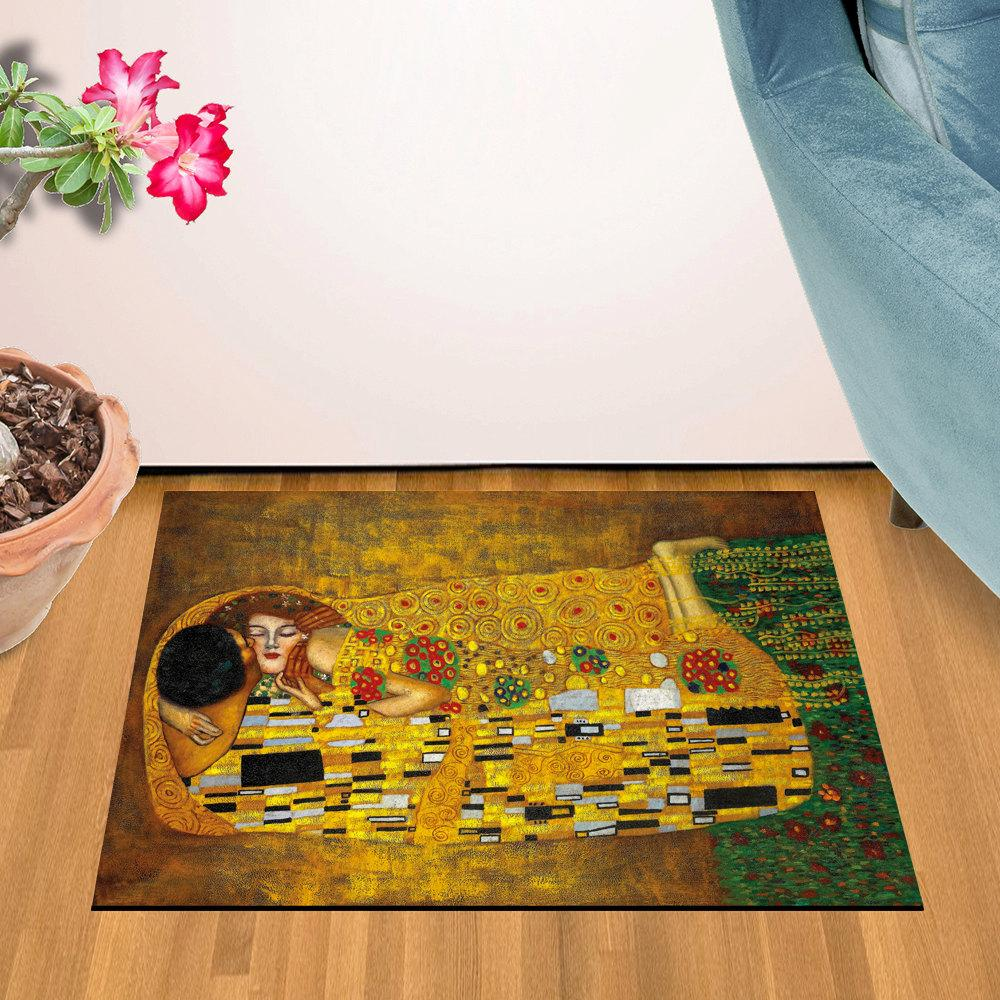 "The Kiss By Gustav Klimt Design Door Mat (24"" x 36"")"