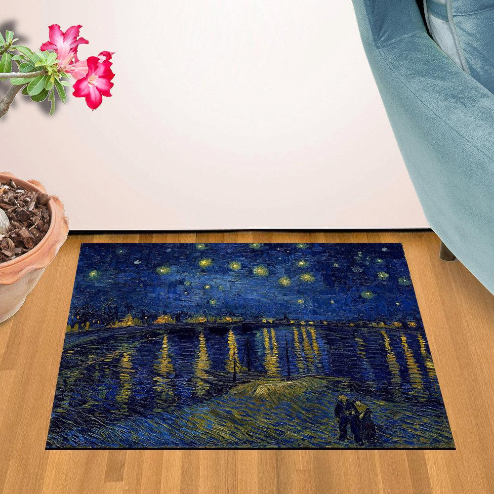 "Starry Night Over the Rhone Design Door Mat (24"" x 36"")"