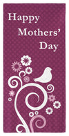 "Mothers' Day Abstract Flowers & Birds - 30"" x 60"" Microfiber Beach Towel"