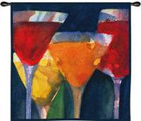 4 Mixed Drinks - 34 inches by 34 inches ; Tapestry Wall Hanging