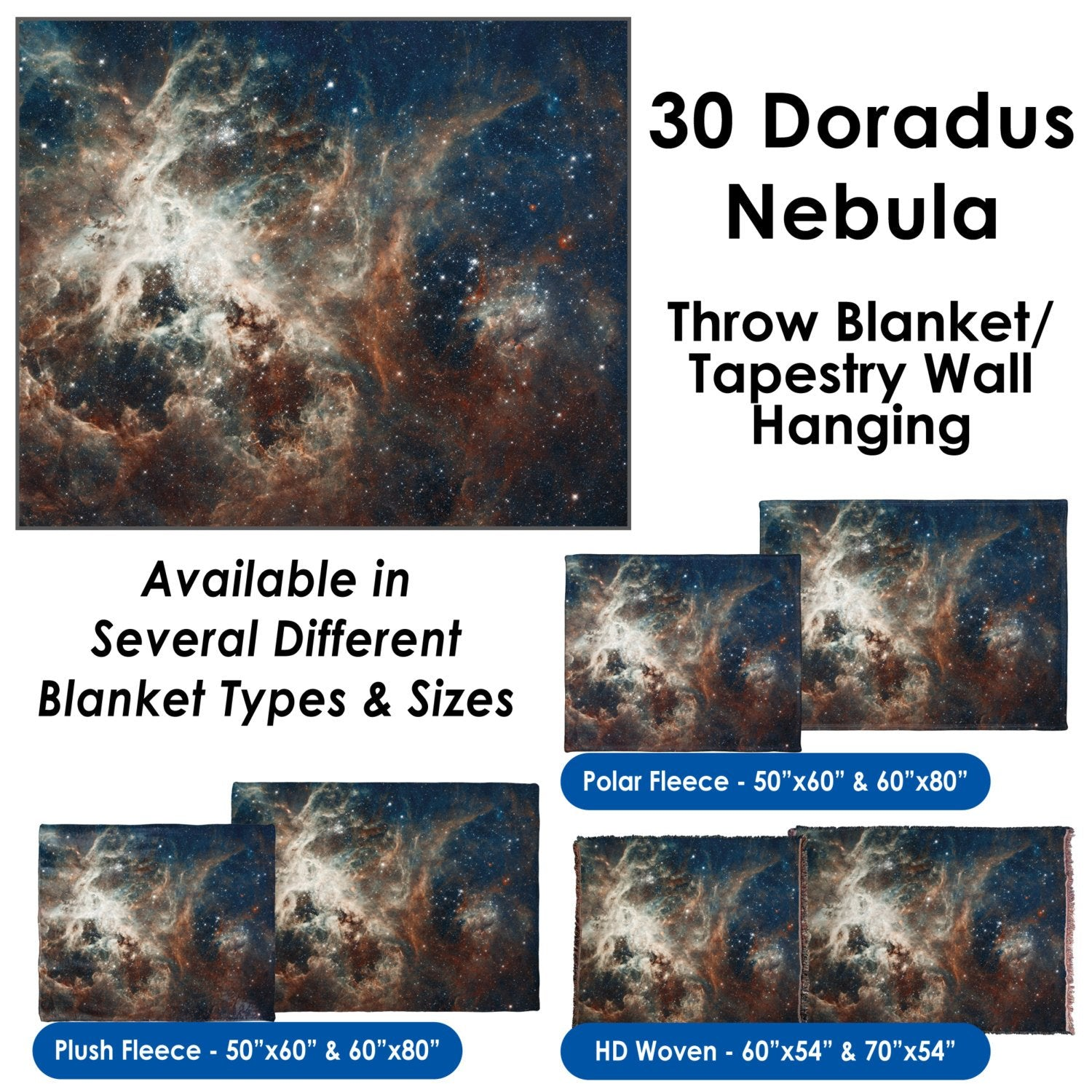 30 Doradus Nebula - Throw Blanket / Tapestry Wall Hanging