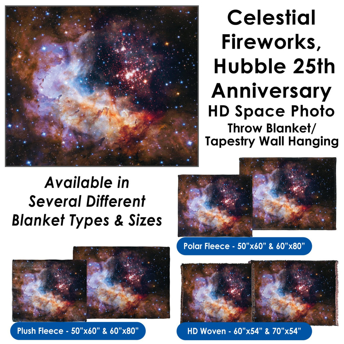 Celestial Fireworks, Hubble 25th Anniversary HD Space Photo - Throw Blanket / Tapestry Wall Hanging