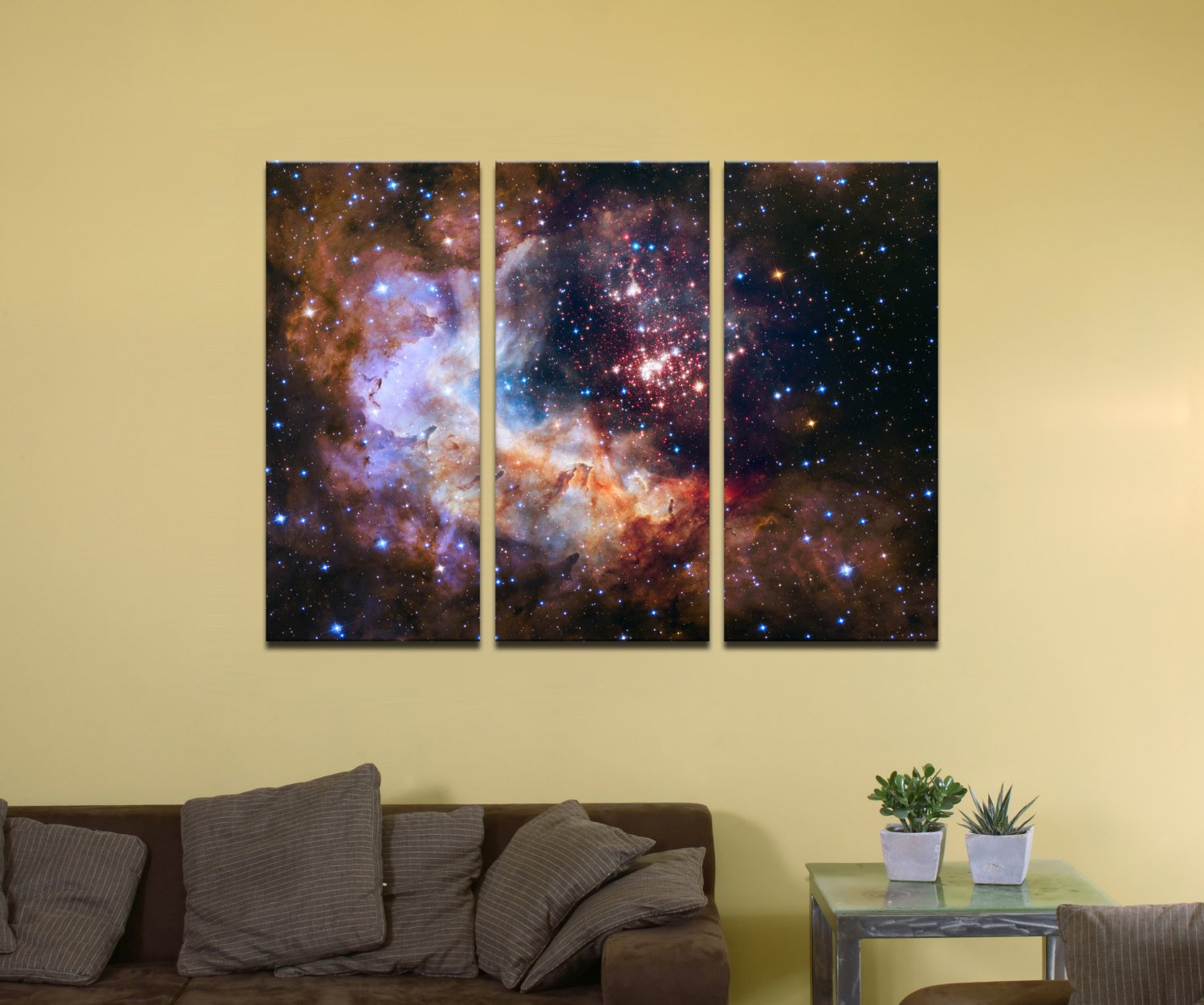 "Celestial Fireworks, Hubble 25th Anniversary HD Space Photo - 48"" x 32"", 3-Piece Split Canvas Wall Mural"