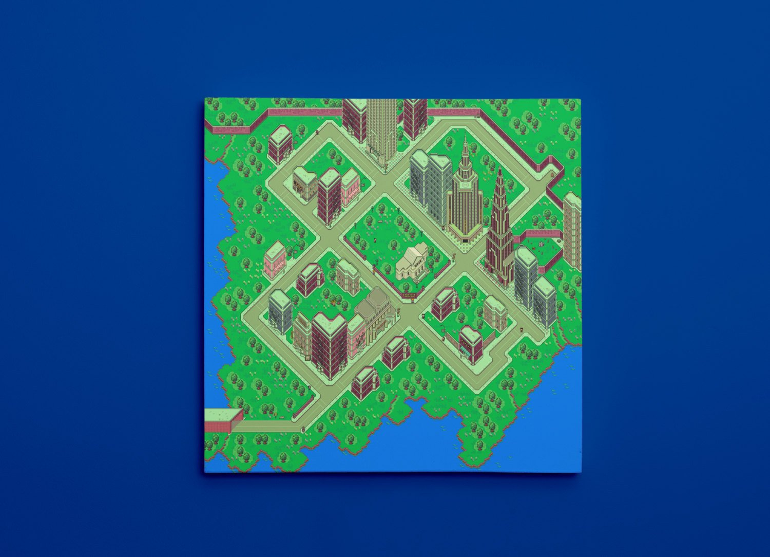 "EarthBound, Fourside Map (16"" x 16"") - Canvas Wrap Print"