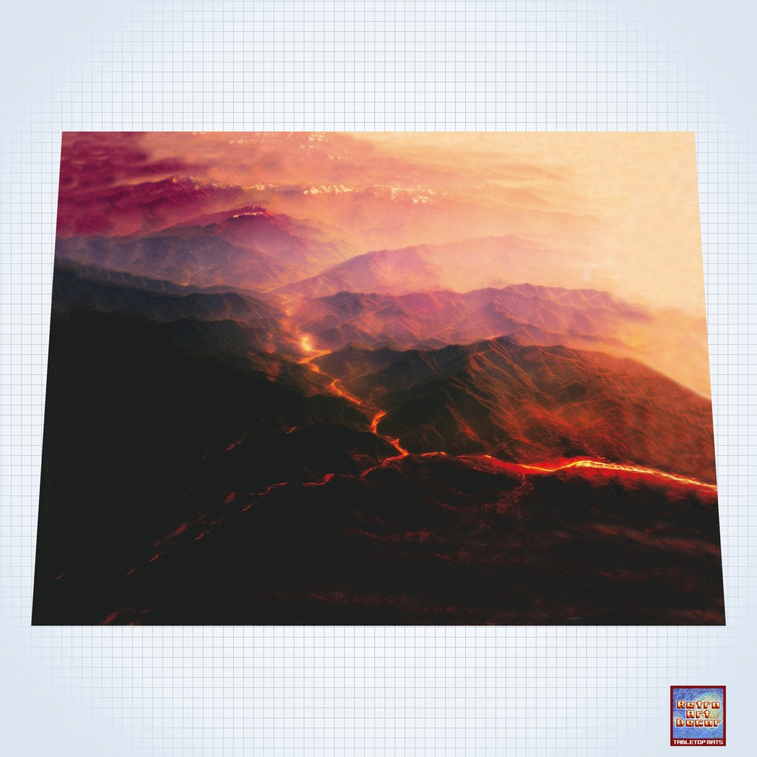 "Volcanic Mountain Range - #GM302 - 60"" x 80"" (4' x 6' plus) Fleece Table Top Gaming Mat"