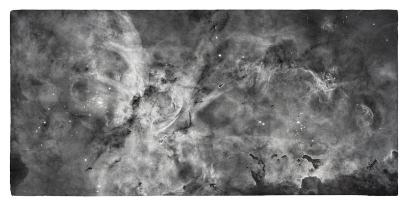 "The Carina Nebula, Star Birth in the Extreme (Grayscale) - 30"" x 60"" Microfiber Beach Towel"