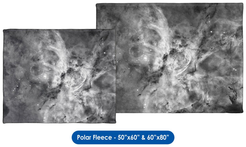 The Carina Nebula, Star Birth in the Extreme (Grayscale) - Throw Blanket / Tapestry Wall Hanging