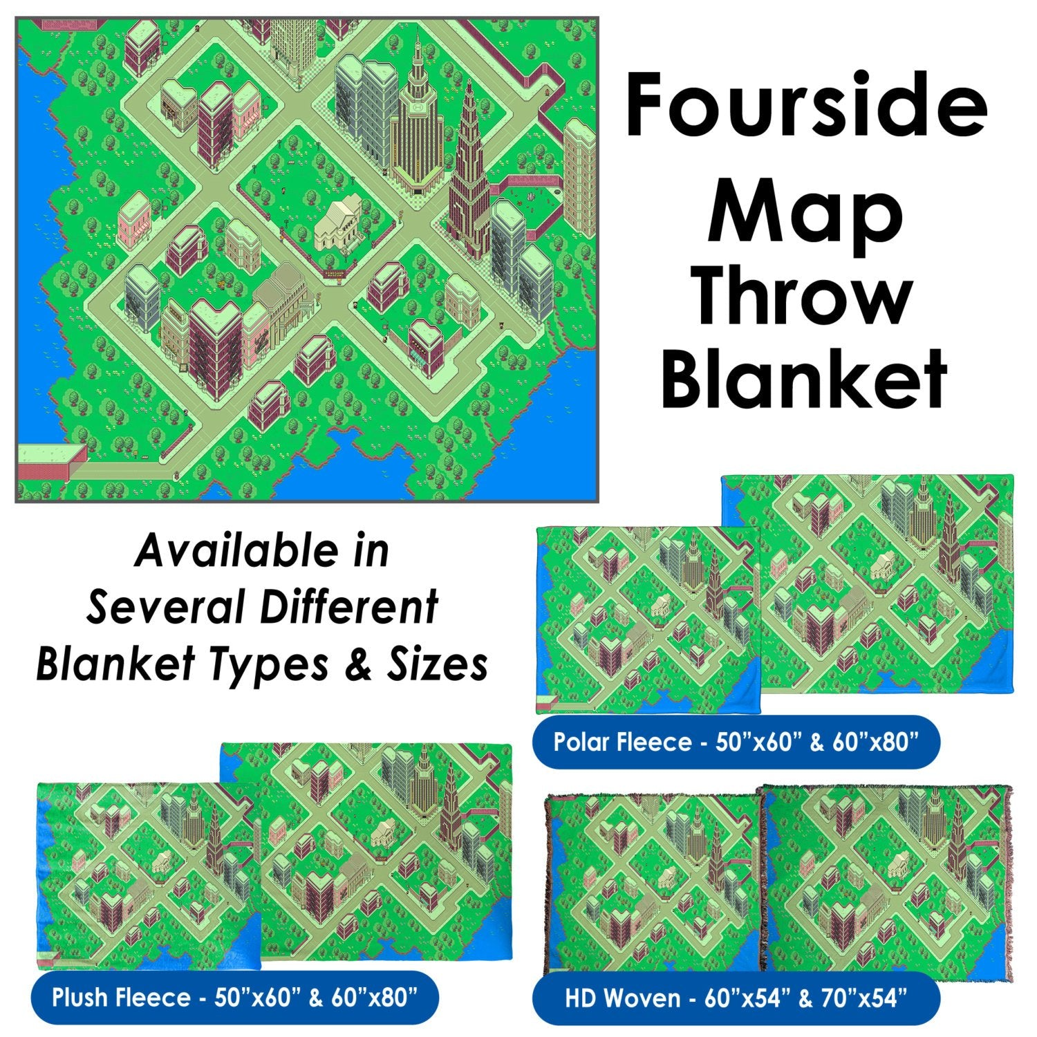 EarthBound, Fourside Map - Throw Blanket / Tapestry Wall Hanging