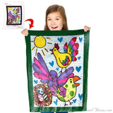 "Kids' Creations - Turn Your Child's Drawing Into A 30"" X 40"" Plush Fleece Mini Blanket"
