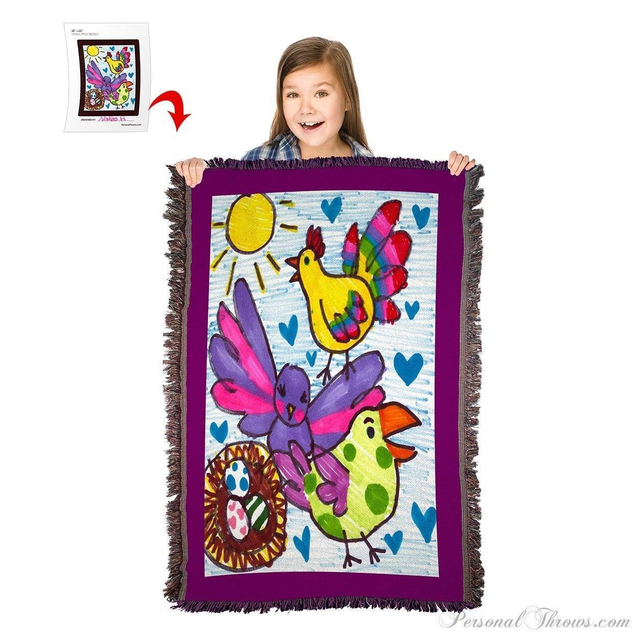 "Kids' Creations - Turn Your Child's Drawing Into A 54"" X 38"" HD Woven Throw Blanket"