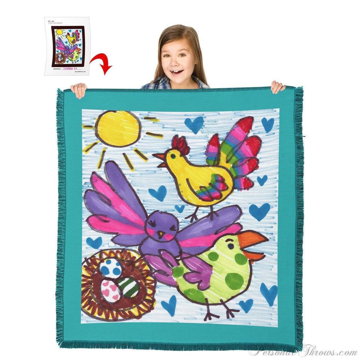 "Kids' Creations - Turn Your Child's Drawing Into A 60"" X 54"" HD Woven Throw Blanket"