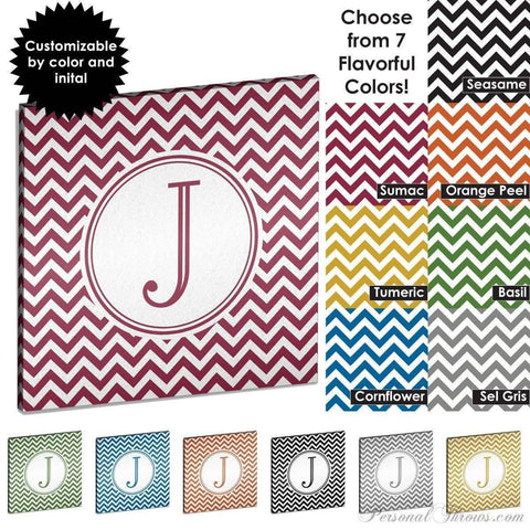 "Monogrammed Gifts,Other Products - Chevron Monogrammed 16"" X 16"" Canvas Gallery Wrap"