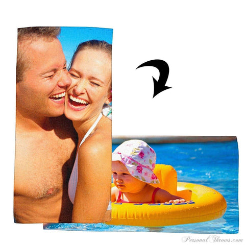 "Other Products,Valentine's Day Gifts,Mother's Day Gifts,Photo Towels - Double-Sided Photo Beach Towel - 30"" X 60"""