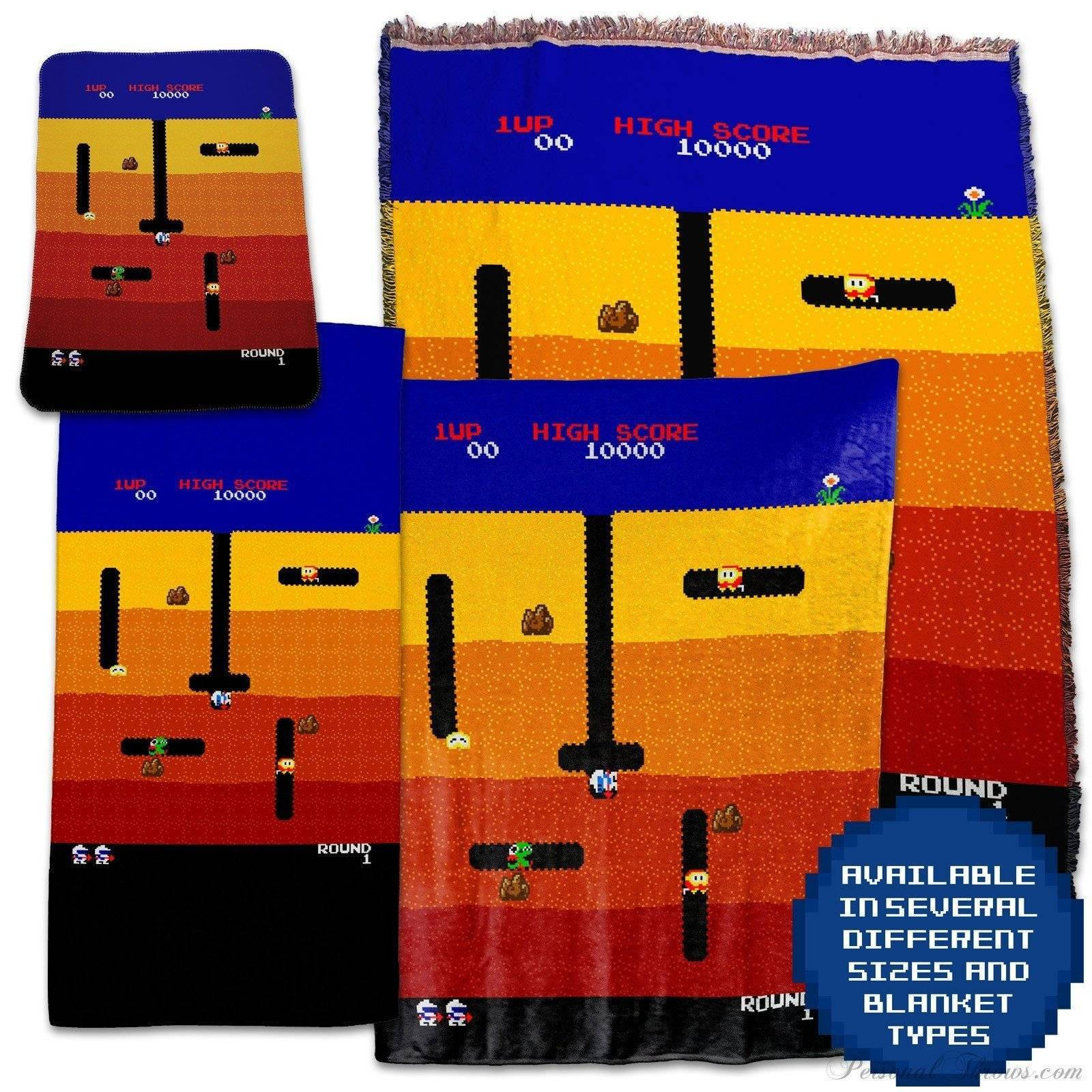 Photo Blankets,Designer Gifts - Dig Dug Arcade Retro Video Game Throw