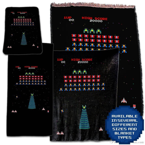 Photo Blankets,Designer Gifts - Galaga Arcade Retro Video Game Throw