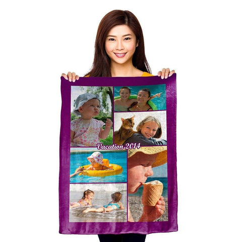 "Photo Blankets - Full Service Photo Collage Plush Fleece Blanket - 30"" X 40"""